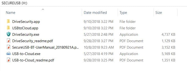 SecureUSB drive content on first use