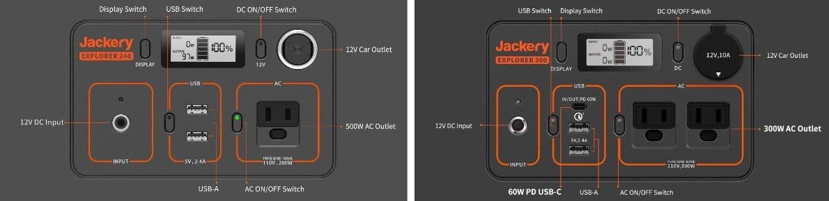 Jackery 240 vs Jackery 300 Ports